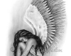 Items similar to Bittersweet Angel Wings Sky Heaven Art Print Emo Fantasy Girl Zindy Nielsen on Etsy Fantasy Girl, Chica Fantasy, Flamingo Illustration, Fairy Tattoo Designs, Tribal Tattoo Designs, Art Heaven, Watercolor Artist, Angel Tattoo For Women, Art Sketches