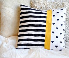 Cushion - Quilted Pillow - Black White and Yellow   Great idea using different patterns! Would you love this pillow in your room?