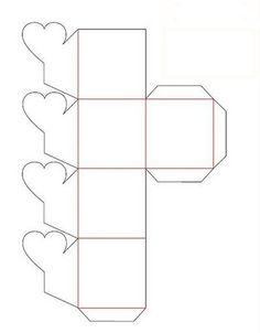 moldes para fazer caixinhas de lembrancinhas de papel com coração