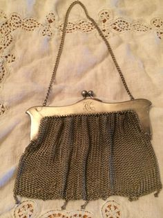 Antique German Silver Mesh Evening Bag Purse Art Nouveau Filigree  #EveningBag