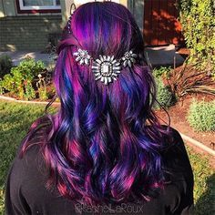 Galaxy Hair Color Ideas with purple and blue, amazing waterfall hairstyle