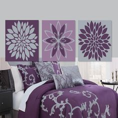wall art dahlia daisy flower purple gray grey bedroom decor abstract floral flourish vintage artwork set