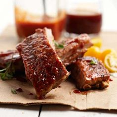 smoked st. louis-style ribs with two sauces