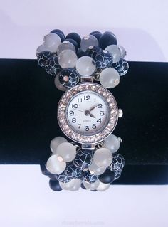 Unique wrist watch woman Womens watch with a black by RinasJewels