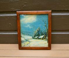 Winter Moonlight Print, Framed Chromolithograph Landscape Print,  Vintage Cottage Art Vintage Wall Sconces, Cottage Art, Landscape Prints, Moonlight, Gallery Wall, Framed Prints, Winter, Painting, Etsy