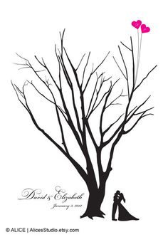 Guest book ideas.                                                       Wedding Tree & Kissing Couple Silhouette Guest by AlicesStudio, $20.00