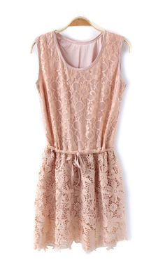 Pink Drawstring Sleeveless Lace Dress