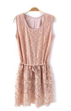 Pink Drawstring Sleeveless Lace Dress