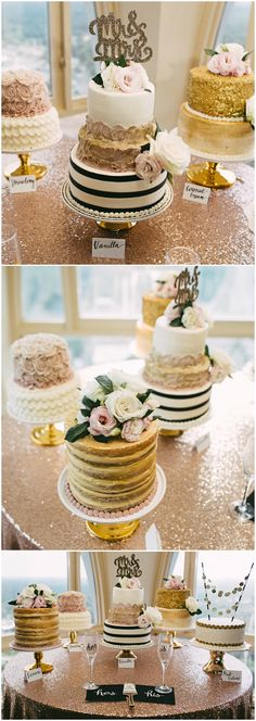 Wedding reception cake table, whimsical wedding cakes, gold icing, glittery Mr. & Mrs. cake topper, white and blush colored florals, naked cake, black and white stripes //  Kelly Ginn Photography