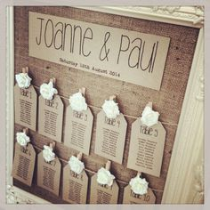 This with biscuits over where the pegs are | Rustic/Shabby Chic Wedding Table Seating Plan Tags and/or header