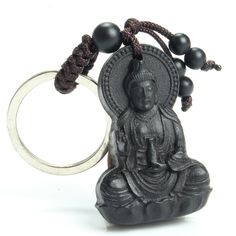 Chinese Traditional Wood Products Classic Ethnic Jewelry Patron Goddess of Mercy To Ward Off Bad Luck Be Safe Ebony Key Chain