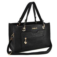 Sally Young Classic Handbag With Croco Pocket - Black Wholesale Scarves, Wholesale Handbags, Cheap Handbags, Classic Handbags, Young Designers, Cheap Fashion, Fashion Handbags, Sally, Fashion Accessories
