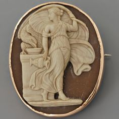 Around 1805, Italian carvers started using shell for their cameo creations which, by the Victorian era, became widely appreciated as an inexpensive medium and optimal for carving. Victorians used shell for less formal cameo ornaments to be worn during the day and agate, onyx or sardonyx for more formal pieces.