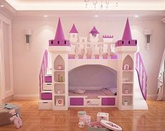 Made to order pretty princess castle bunk bed with slide and Castle Beds For Girls, Bunk Beds For Girls Room, Bunk Rooms, Kid Beds, Girls Bedroom, Twin Princess Bed, Princess Castle Bed, Princess Bedrooms, Kids Bed With Slide