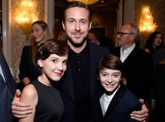 Millie Bobby Brown, Ryan Gosling & Noah Schnapp from Golden Globes 2017 Party Pics  TheLa La Land actorwas sandwiched in between the two child stars atthe BAFTA Tea Party at the Four Seasons Hotel.
