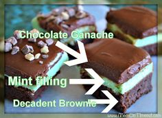 Chocolate Mint Brownies Recipe   MomOnTimeout.com - Decadent Ganache, Mint Filling, and a moist, rich brownie base. The perfect way to add a little green to your diet :) #recipes