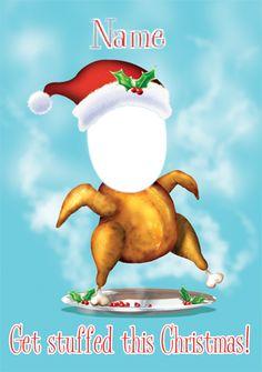WWW.FUNKYPIGEON.COM - PERSONALISED Photo Upload Card - Christmas Turkey Get Stuffed