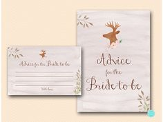 Advice for the Bride to be Card Rustic by MagicalPrintable on Etsy