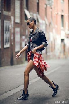 grunge-boots-with-denim-jacket-and-gingham-shirt-and-shorts