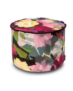 Cylinder pouf in printed cotton velvet WIGHT