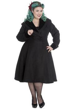 Hell Bunny Plus Size Vivien Coat Black Vintage PinUp Vintage Inspired Outfits, Vintage Outfits, Vintage Fashion, Rockabilly Outfits, Rockabilly Fashion, Plus Size Alternative Clothing, Plus Size Rockabilly, Pin Up Outfits, Vintage Coat