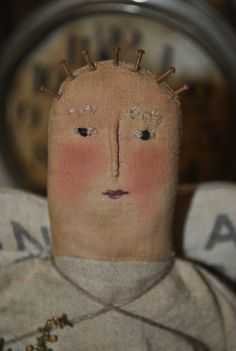 Primitive Folk Art doll, Abigail Angel... A Shabby Prim Angel Folk Art and Primitive Handmade Doll