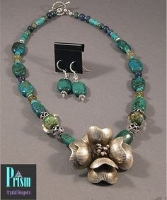 Chrysocolla Statement Necklace Set by PrismBouquets on Etsy, $85.00