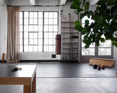 This open living room in a loft in Venice, Los Angeles, features vintage gym equipment and large warehouse windows that fill the space with natural light. Photograph by Shade Degges.
