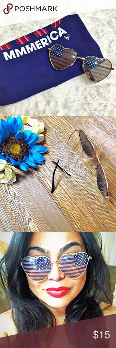 🇺🇸Lady Liberty🇺🇸 Heart Shaped Flag Sunnies ⭐️TOP SELLER🔹NEXT DAY SHIP⭐️ Enjoy your 4th of July in style with these American flag-printed lenses inside an adorable metal heart shaped frame. Comes with a soft felt black case. Pics 1-3 are actual!  100% Protection UVA/UVB Rays Full gold Metal Heart Shape Frame sunglasses Acrylic American Flag Print Lens  Lens Height 55mm Lens Width 60mm Bridge 20 mm Frame Total 145 mm unbranded Accessories Sunglasses
