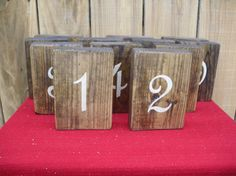 Wooden rustic table numbers for weddings by CiderHouseMill on Etsy