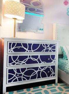With O'verlays decorative fretwork panels, you can turn your Ikea furniture into customized pieces. Our Ikea furniture hacks make for an easy DIY project to elevate your home decor! Ikea Furniture Hacks, Furniture Makeover, Ikea Makeover, Ikea Hacks, Furniture Projects, Ikea Overlays, Home Decor Items, Diy Home Decor, Ikea Nightstand