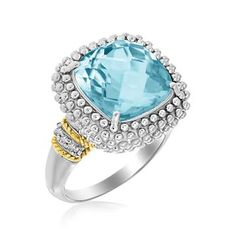 Yellow Gold & Sterling Silver Sky Blue Topaz and Diamond Popcorn Ring - Size 7 Blue Topaz Stone, Blue Topaz Diamond, Silver Diamonds, Colored Diamonds, Silver Ring, Topaz Jewelry, Diamond Jewelry, Silver Jewelry, Fine Jewelry