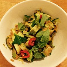 Hemsley and Hemley's courgetti with butter bean and tomato pesto