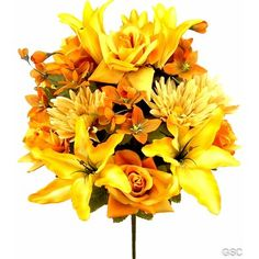 Zipcode Design 18 Stems Artificial Lily, Rose, Gerbera Mixed Bush with Greenery Color: Honey