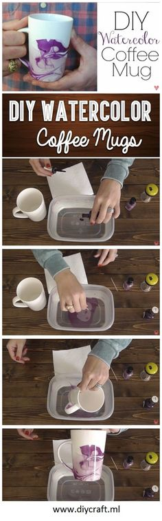 How to Make Fantastic DIY Watercolor Coffee Mug. Visit: http://diycraft.ml/how-to-make-fantastic-diy-watercolor-coffee-mug/