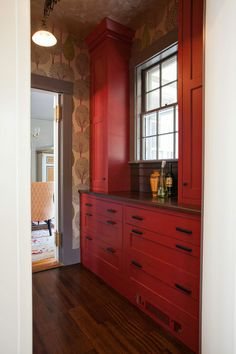 """Totally different (but related) color scheme in the transitional kitchen.  """"Pennville Custom CabinetrySave to IdeabookEmail Photo """"I applied the same reasoning here that some people use when decorating a powder room. I feel like it's a controlled space, so you can go a little wild."""" 