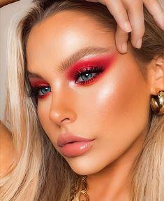 Red Makeup Looks, Red Eye Makeup, Skin Makeup, Dark Angel Makeup, Holiday Makeup Looks, Glam Makeup Look, Perfect Makeup, Cute Makeup, Pretty Makeup