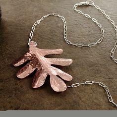 Oak Leaf necklace hammered Copper Sterling by BarronDesignStudio