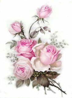 Bilderesultat for imagem de pinturas de Kathy Hare Decoupage Vintage, Vintage Paper, Vintage Art, Vintage Prints, Decoupage Plates, Art Floral, Flower Images, Flower Art, Scrapbooking Vintage