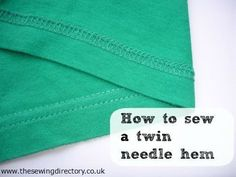 Sewing Techniques Couture How to sew a twin needle hem on stretch fabric Sewing Projects For Beginners, Sewing Tutorials, Sewing Crafts, Serger Projects, Dress Tutorials, Fabric Crafts, Sewing Hems, Sewing Clothes, Fabric Sewing