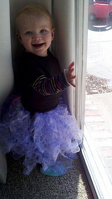 Tutu out of cut up dollar store loofahs!!  I saw these at the craft fair this morning and new I had to find instructions online.  How fun is that.  I love the feel of loofah material more than tulle anyway.  And no static. - @Katie Cox - Have you seen this?
