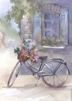 Thank you for visiting my Boards, Please Pin as much as you like, I hope you find something that inspires you❣️😊 Watercolor Sketch, Watercolor Landscape, Watercolor Print, Watercolour Painting, Bicycle Painting, Bicycle Art, Bike, Decoupage Vintage, Beautiful Paintings