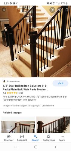 Stair Railing, Stairs, Iron Balusters, Wrought Iron, Remodeling, Modern, Image, Stair Banister, Stairway
