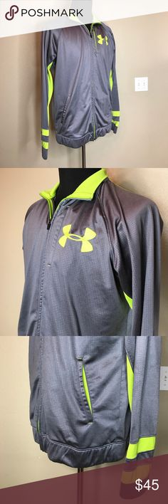 """{under armour} Lime Green & Gray Track Jacket Minor wear, in great condition! Approx 23"""" pit to pit and approx 28.5"""" long. Perfect for fall and winter! Under Armour Shirts Sweatshirts & Hoodies"""
