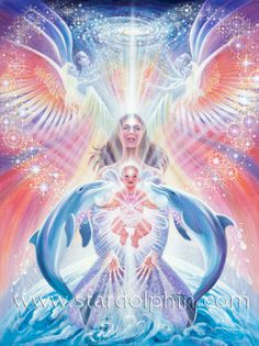 Eva Sullivan is a Visionary Painter and Environmentalist. Her paintings enter the realms of angels, dolphins, mystic creatures and fairies, lightworkers and goddesses. Art Visionnaire, Dolphin Art, Inner Child Healing, Twin Flame Love, Divine Mother, Spirited Art, Angel Pictures, Delphine, Visionary Art