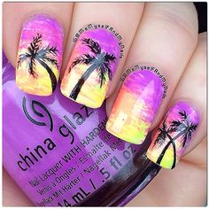 Purple sunset palm tree nails nagel on Cruise Nails, Vacation Nails, Beach Nail Art, Beach Nails, Pretty Nail Designs, Nail Art Designs, Hawaii Nails, Sunset Nails, Palm Tree Nails