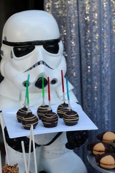 Lightsaber Cake Pops From A Star Wars Birthday Party On Kara S