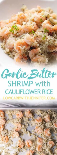 This low carb shrimp recipe with garlic butter and cauliflower rice is an easy sheet pan meal that can be on the table in less than 30 minutes. That makes this a low carb 30 minute meal! This garlic butter shrimp is THM-S