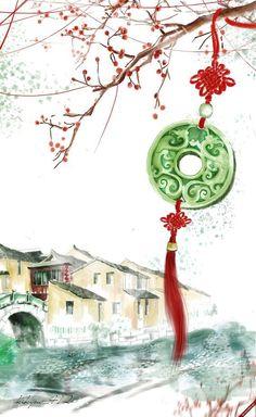 By Artist Unknown. Asian Artwork, Chinese Artwork, Chinese Drawings, Chinese Painting, Art Drawings, Chinese Background, Art Asiatique, Art Japonais, China Art