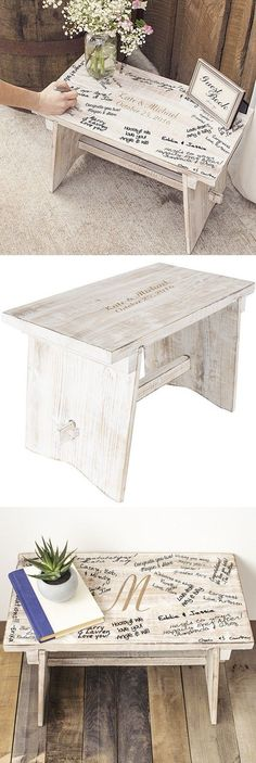 Such a lovely idea!!  http://myweddingreceptionideas.com/personalized-rustic-white-wood-guest-book-bench.asp